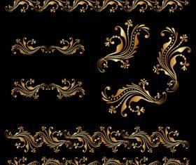 Golden floral ornament elements design vectors 05