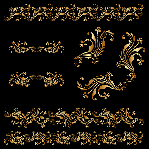 Golden borders with ornament design vector 05
