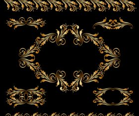 Golden borders with ornament design vector 06