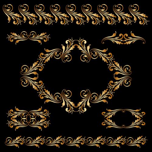 Golden borders with ornament design vector 06