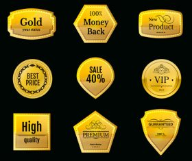 Golden discount badge vector set