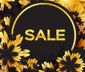 Golden flower with sale background vector 03