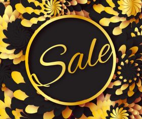 Golden flower with sale background vector 04