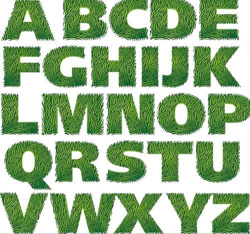 Green alphabet fonts vector design