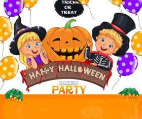 Halloween party design with cute kids vector