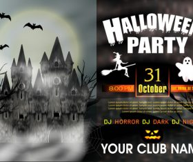 Halloween party night poster vectors 02