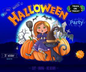 Halloween party poster ready design vector