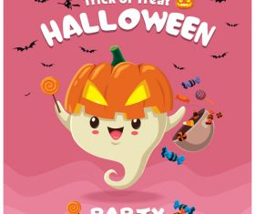 Halloween template with cute monster vectors 05
