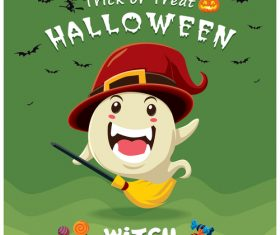 Halloween template with cute monster vectors 06