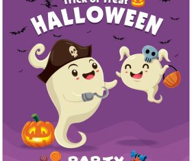 Halloween template with cute monster vectors 07