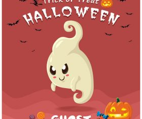 Halloween template with cute monster vectors 08