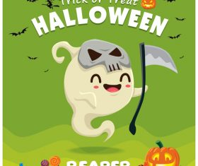 Halloween template with cute monster vectors 09