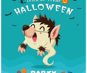 Halloween template with cute monster vectors 10