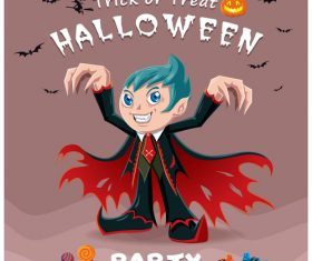 Halloween template with cute monster vectors 11