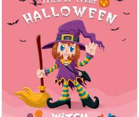 Halloween template with cute monster vectors 12