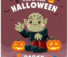 Halloween template with cute monster vectors 13