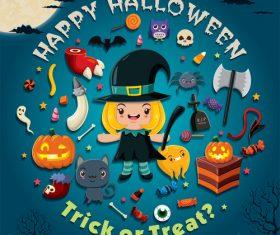 Halloween trick or treat background vector 03