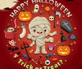 Halloween trick or treat background vector 04
