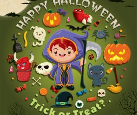 Halloween trick or treat background vector 05