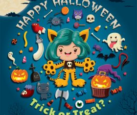 Halloween trick or treat background vector 07