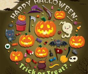 Halloween trick or treat background vector 08