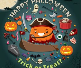 Halloween trick or treat background vector 09