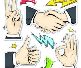 Hand and arrow hand drawing vector