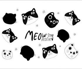 Hand drawn cartoon cute cat pattern vector