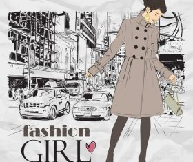 Hand drawn city with fashion girl vector 01