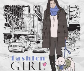 Hand drawn city with fashion girl vector 02