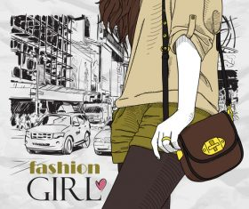 Hand drawn city with fashion girl vector 03