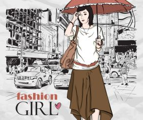 Hand drawn city with fashion girl vector 04