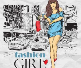 Hand drawn city with fashion girl vector 05