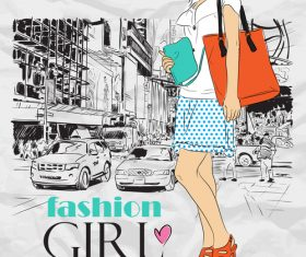 Hand drawn city with fashion girl vector 06