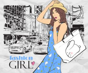 Hand drawn city with fashion girl vector 07