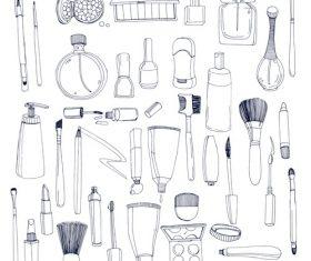 Hand drawn cosmetics elements vectors