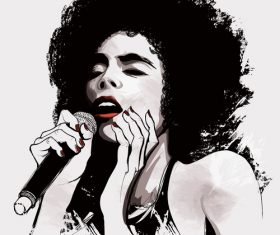 Hand drawn girl sing vector illustration