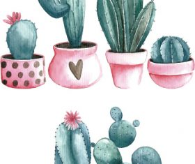 Hand drawn watercolor prickly pear cactus vector pattern