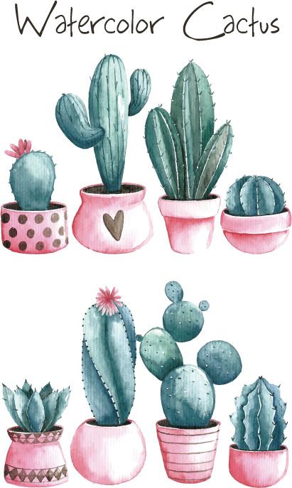 Hand drawn watercolor prickly pear cactus vector pattern