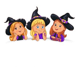 Happy Halloween funny children in hat on white background vector