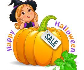 Happy Halloween funny girl in hat with pumpkin sale sign vector