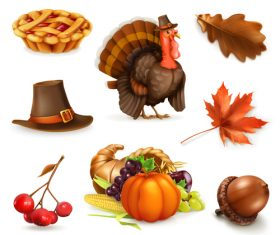 Happy Thanksgiving cartoon character and objects vector