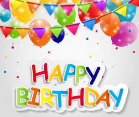 Happy birthday card with shiny colored balloons vector
