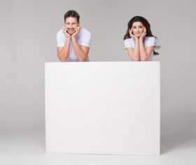 Happy couple and white table Stock Photo 10
