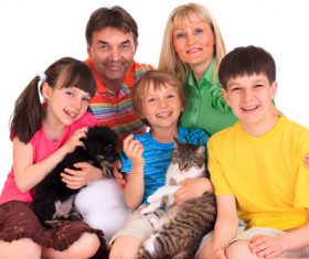 Happy family and pet Stock Photo