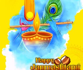 Happy janmashtami festival design vector 03