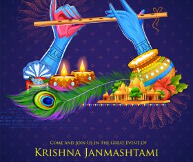 Happy janmashtami festival design vector 04