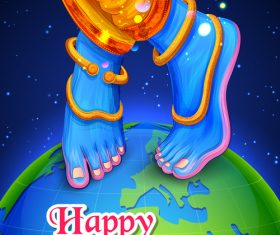 Happy janmashtami festival design vector 05