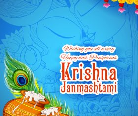 Happy janmashtami festival design vector 07
