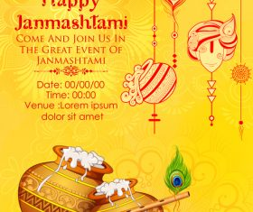 Happy janmashtami festival design vector 08